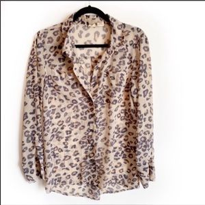 Mudd Sheer Animal Print Button down blouse EUC